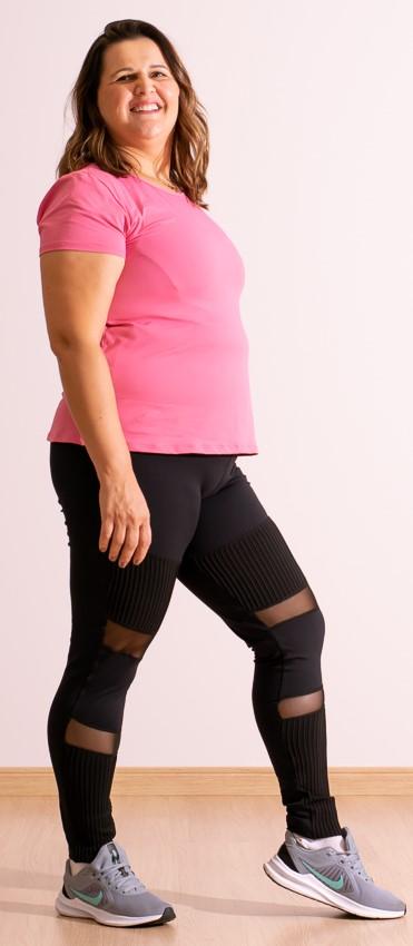 Calça Legging Fitness Feminina Preta c/ Tule