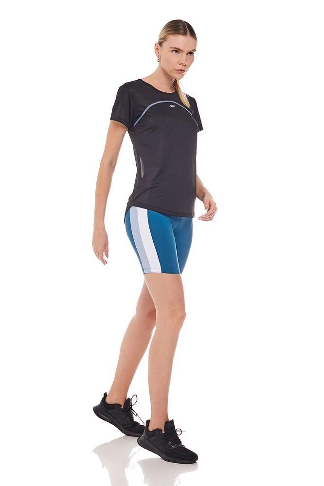 Shorts Fitness Feminino Azul com detalhe branco/Cinza