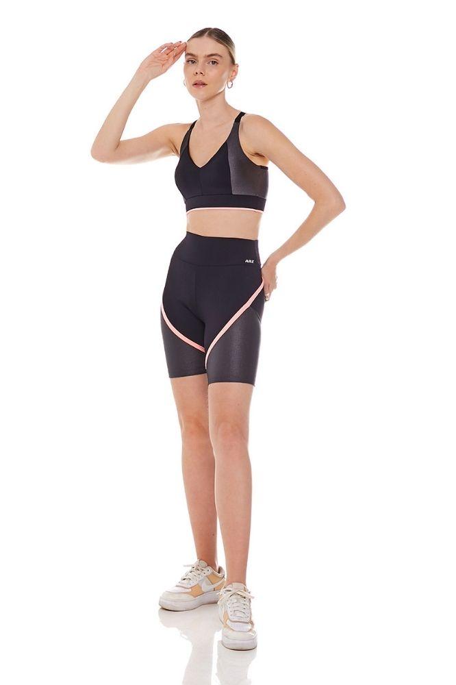 Shorts Fitness Feminino preto com detalhe neon