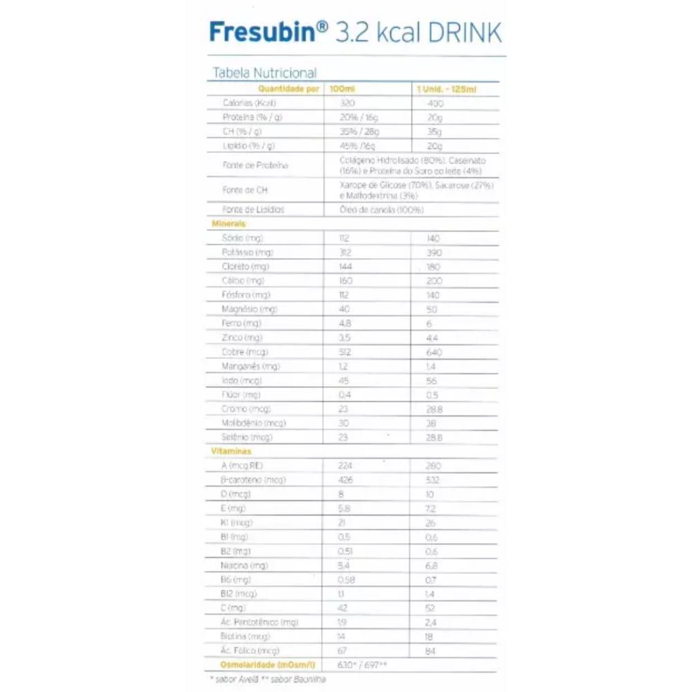 FRESUBIN 3.2 KCAL  BAUNILHA 125ML