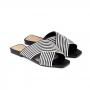 Mule Rasteira Sapato Da Corte Bico Quadrado Em X
