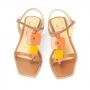 Rasteira Sapato Da Corte Com Quadrada Com Pedras Coloridas