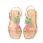 Rasteira Sapato Da Corte  Quadrada Com Pedras Coloridas