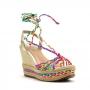 Sandália Anabela Sapato Da Corte Tiras Coloridas
