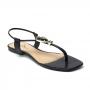 Sandália Flat Sapato Da Corte Bico Quadrado 2 Pedras