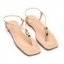 Sandália Flat Sapato Da Corte Fio Bico Quadrado