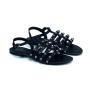 Sandália Flat Sapato Da Corte Tiras Com Spikes