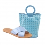 Sandália Flat Schutz Em X + Bolsa Azul