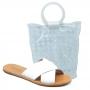 Sandália Flat Schutz Em X + Bolsa Marfim