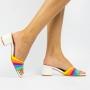 Sandália Mule Salto Bloco Baixo  Rainbow