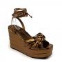 Sandália Sapato Da Corte Anabela Alta Trança Comfy