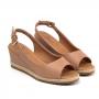 Sandália Sapato Da Corte Anabela Baixo Chanel Peep Toe