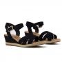 Sandália Sapato Da Corte Anabela Baixo Cruzada