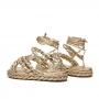 Sandália Sapato Da Corte Flat Form Amarração Comfy