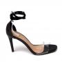 Sandália Sapato Da Corte Salto Alto Fino Bico Quadrado Vinil