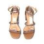 Sandália Sapato Da Corte Salto Baixo 3 Tiras Strass