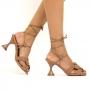 Sandália Sapato Da Corte Salto Taça Amarrar Comfy