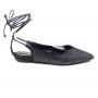 Sapatilha Sapato Da Corte Bico Fino Decote V Amarrar