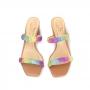 Tamanco Sapato Da Corte Salto Bloco 2 Tiras Strass