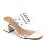 Tamanco Sapato Da Corte Salto Bloco Vinil Spike