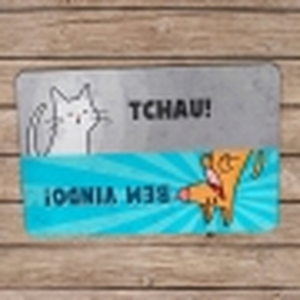 Capacho Ecológico Cão e Gato - Bem-Vindo e Tchau!