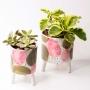 Vaso de Cerâmica Delicado Rosa e Verde Grande