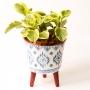 Vaso de Cerâmica Desenho Com Pé Geométrico Grande
