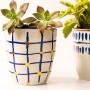 Vaso de Cerâmica Xadrez Azul Pequeno