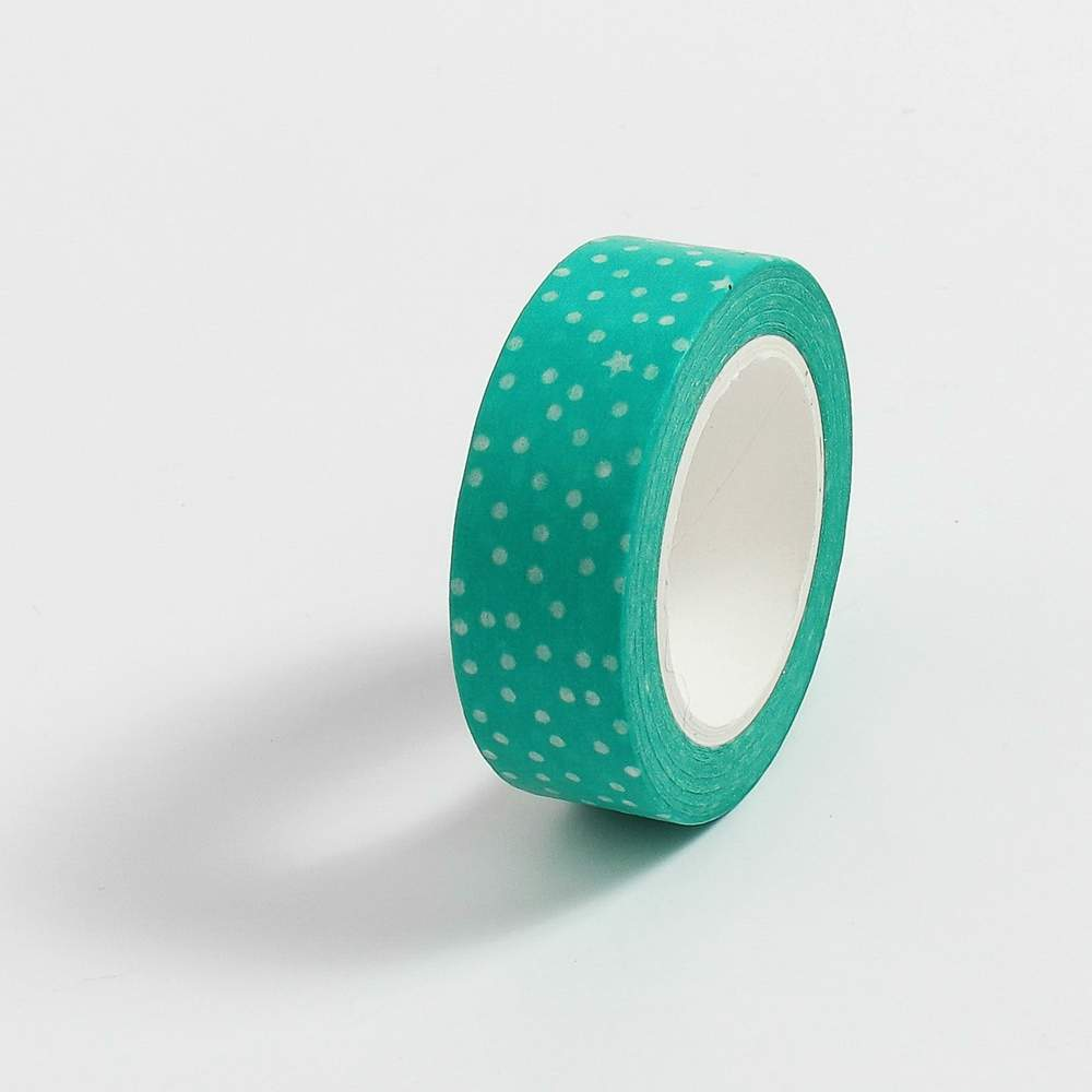 Fita Adesiva Decorativa Washi Tape Poá Verde água