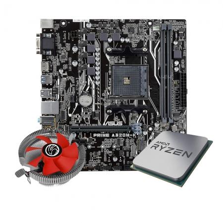 Kit Upgrade Processador Amd Ryzen R5 3400g + Placa mãe Asus  A320M-K/BR + Cooler