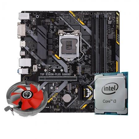 Kit Upgrade Processador I3 9100 + Placa mãe Asus TUF B360M-Plus Gaming LGA1151 + Cooler