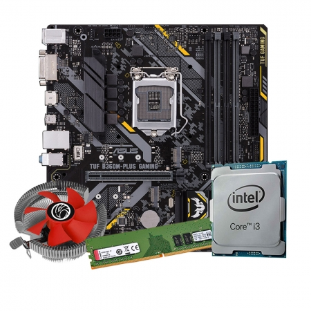 Kit Upgrade Processador I3 9100 + Placa mãe Asus TUF B360M-Plus Gaming LGA1151 +Memoria Ddr4 8gb Kingston + Cooler