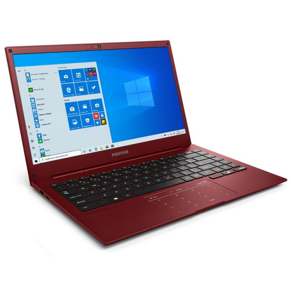 "Notebook Positivo Motion Q464b Intel Atom Memória 4gb Lpddr3 Ssd 64gb + 64gb Cloud Tela 14"" Hd Led Windows 10 Home Red"