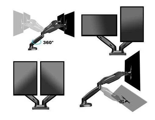 Suporte Articulado De Mesa Com Pistão A Gás E Ajuste De Altura Para 2 Monitores De 17'' A 27'' - F160n