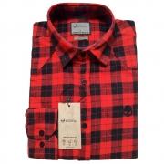 Camisa Anti Social Flanela Slim Fit Preta/Vermelho