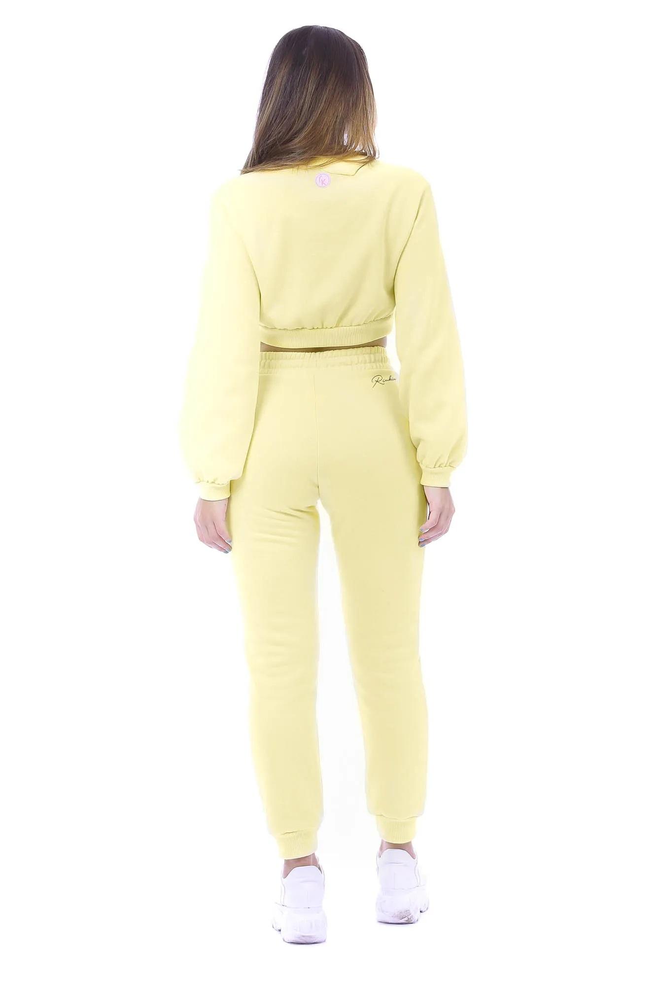 Calça Riu Kiu Comfy de Moletom Amarelo