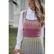 Vestido Penélope Pied Poule Cinza / Rosa / Amarelo / Pink