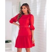 Vestido Tricoline Vermelho