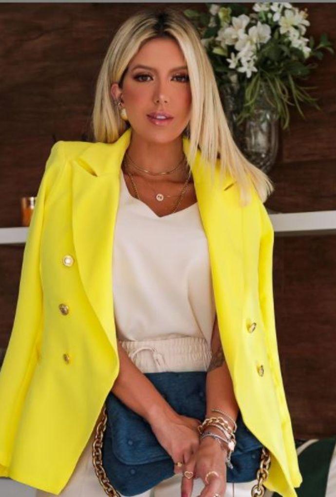 Blazer Botões Dourados Amarelo