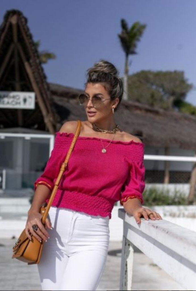 Blusa Girassol Cropped Franzido Pink