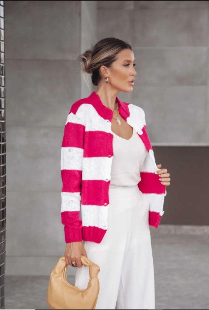 Casaco Lila Londres Listrado Pink / Branco