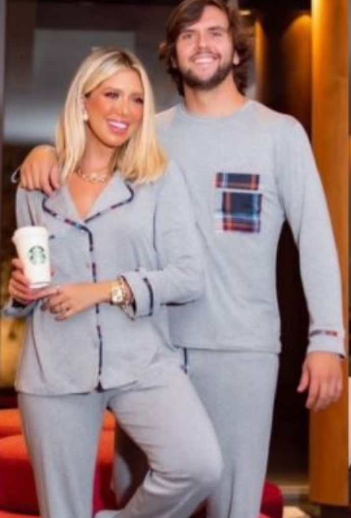 Pijama com viés em xadrez Masculino