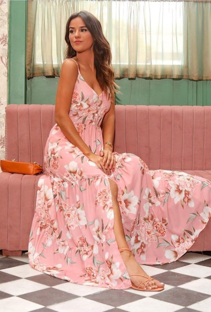 Vestido De Alça Com Botões Forrados Rosa