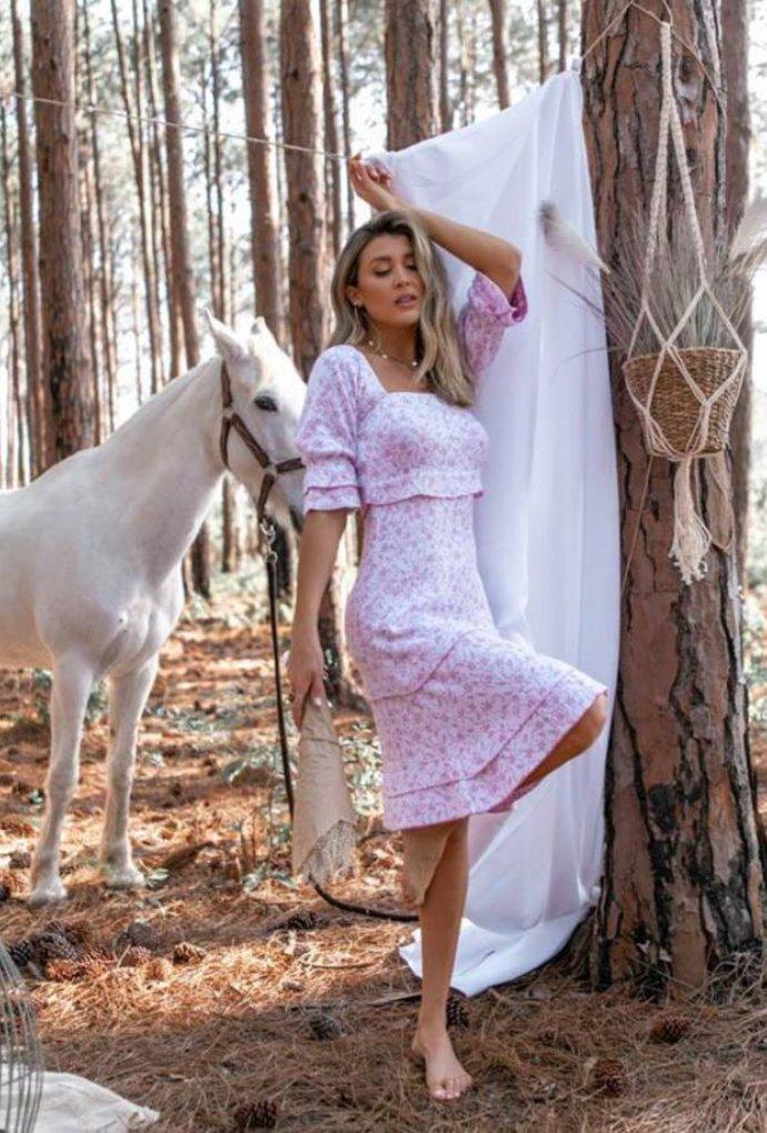 Vestido Floral Cores Branco / Rosa