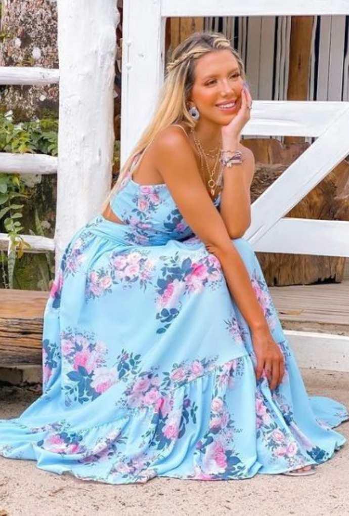 Vestido Floral recortes