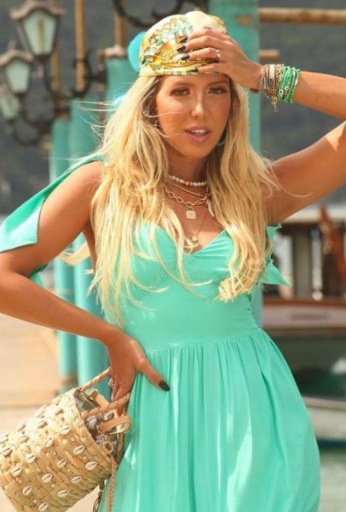 Vestido Longo Com Amarrações Verde