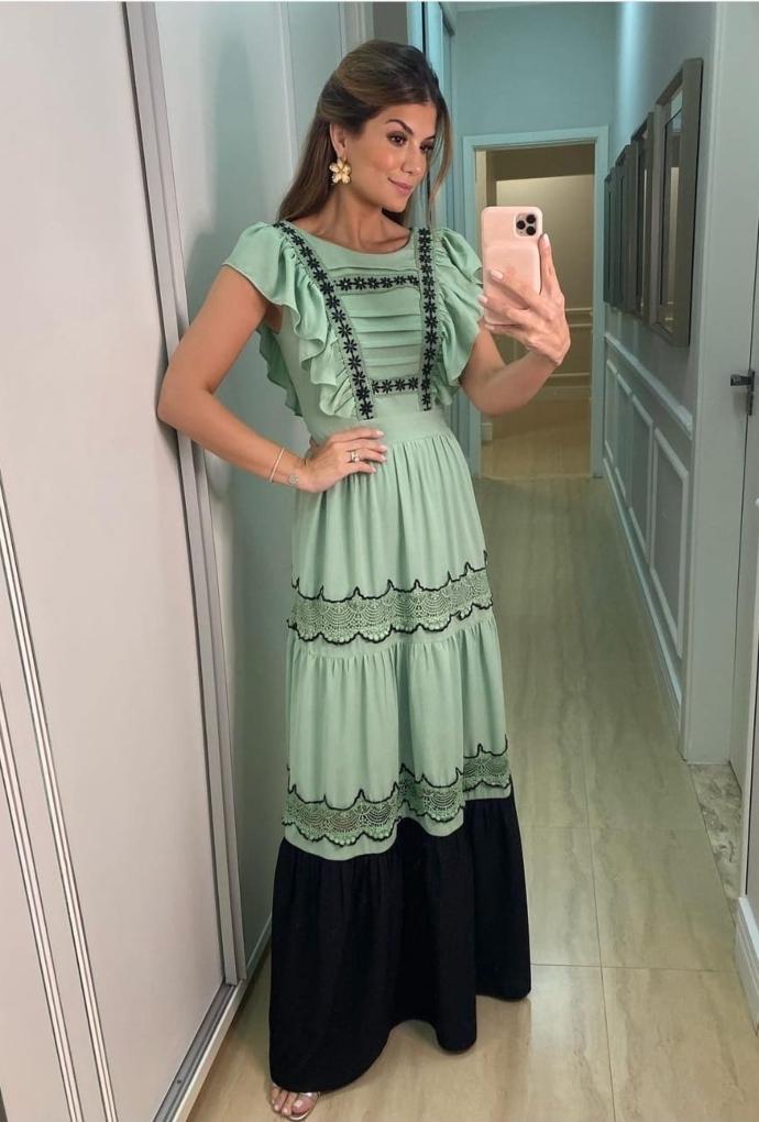 Vestido longo Renda Margarida