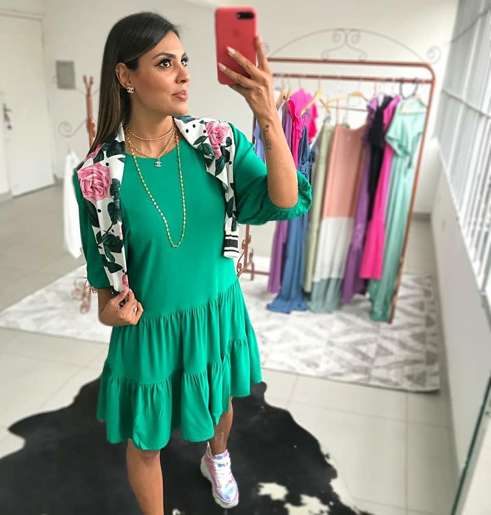 Vestido Márcia Manga 7/8 Verde