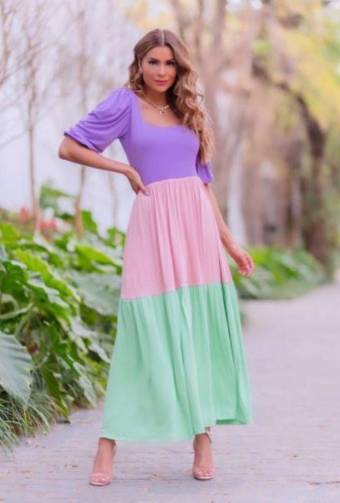 Vestido Midi Tricolor Manga Princesa