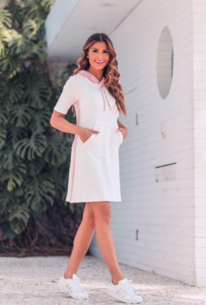 Vestido Moletinho Com Capuz Off White